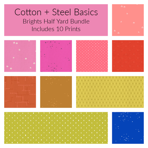 Cotton+Steel Basics Brights Half Yard Bundle - Includes 10 Prints - brewstitched.com
