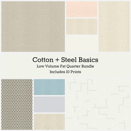 Cotton+Steel Basics Low Volume Fat Quarter Bundle - Includes 10 Prints - brewstitched.com