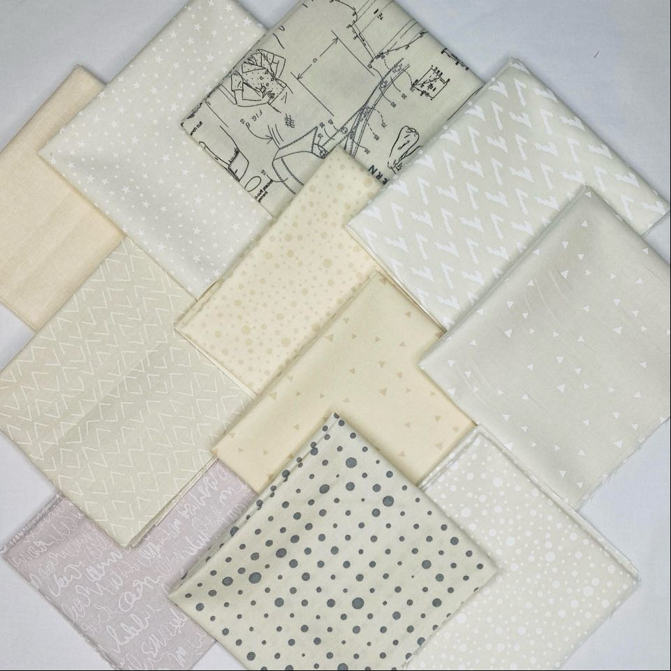 Cream Fat Quarter Bundle - Includes 11 Prints