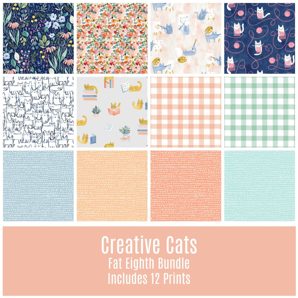 Creative Cats Fat Eighth Bundle - Includes 12 Prints - Coming Oct 2020 - brewstitched.com
