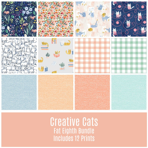 Creative Cats Fat Eighth Bundle - Includes 12 Prints - Last one! - brewstitched.com
