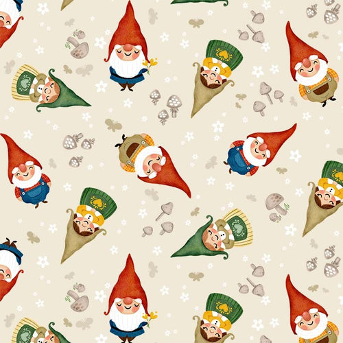 Gnome Sweet Gnome Sweet Gnomes Ecru - Priced by half yard - brewstitched.com