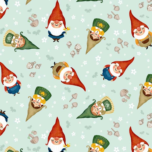 Gnome Sweet Gnome Sweet Gnomes Mist - Priced by half yard - brewstitched.com