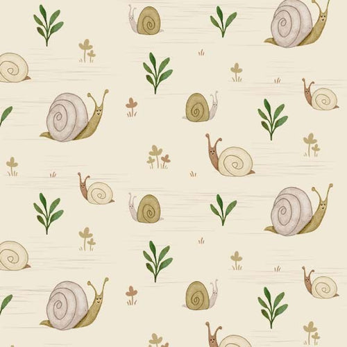 Gnome Sweet Gnome Happy Snails Ecru - Priced by half yard - brewstitched.com