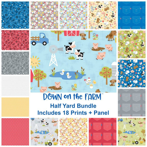 Down on the Farm Half Yard Bundle - Includes 18 Prints + Panel - brewstitched.com