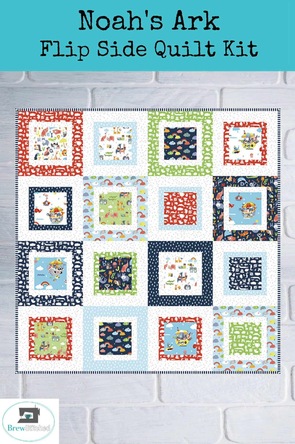 Noah's Ark Flip Side Quilt Kit - brewstitched.com