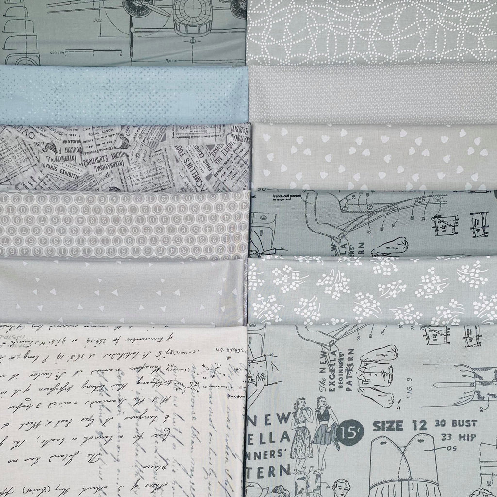 Gray Fat Quarter Bundle - Includes 10 Prints