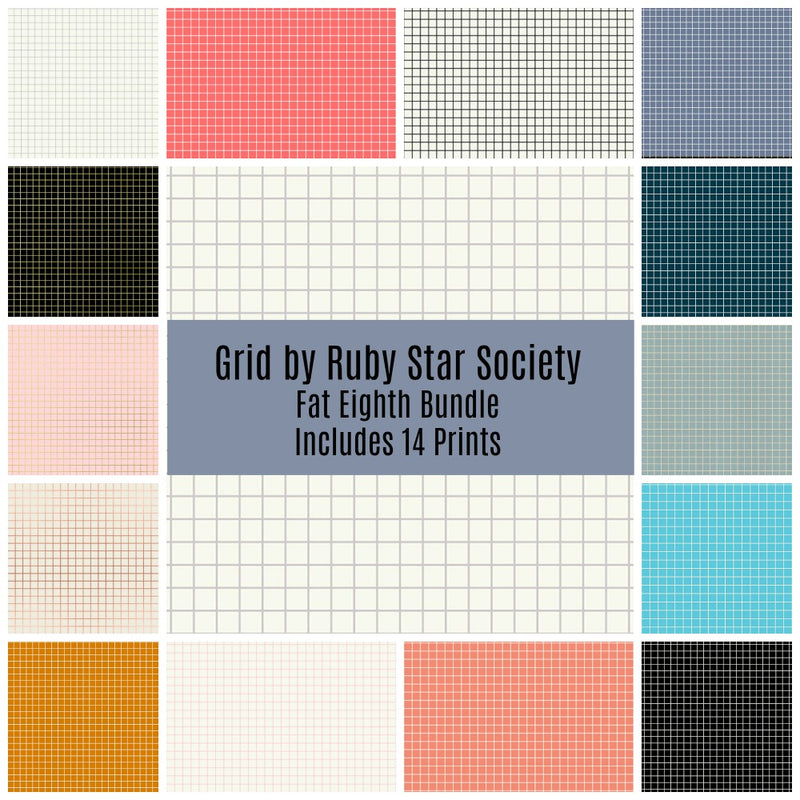 Grid Basics Fat Eighth Bundle - Includes 14 Prints - brewstitched.com