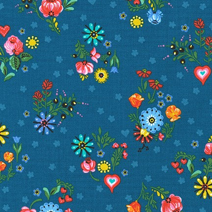 Hidden Canyon Floral Blue Jay - Priced by the Half Yard - brewstitched.com