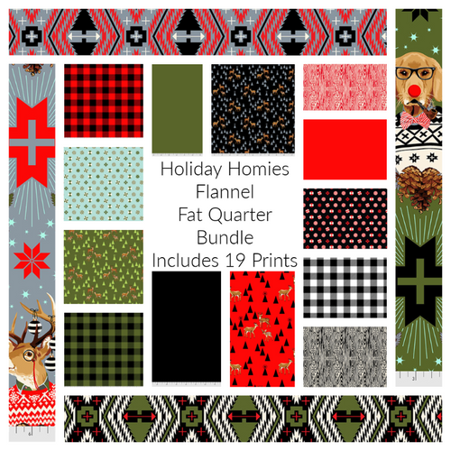 Holiday Homies Flannel Fat Quarter Bundle - Expected June 2021 - brewstitched.com
