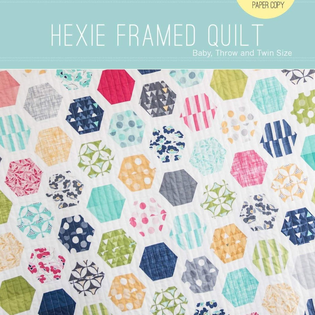 Hexie Framed Quilt Paper Pattern from Quilty Love - brewstitched.com