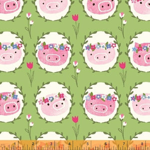 Julia White Piggy Scene - Priced by the Half Yard - brewstitched.com