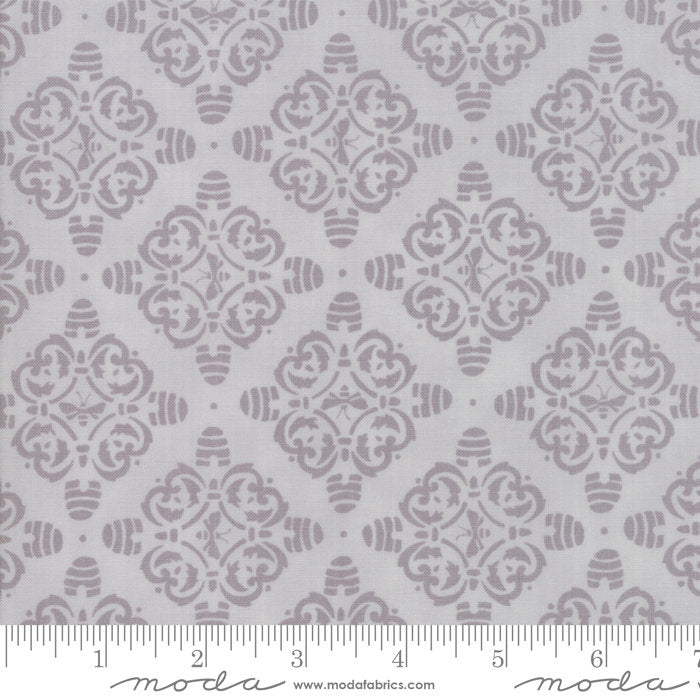 Bee Joyful Bee Hive Damask Grey - Priced by the Half Yard - brewstitched.com
