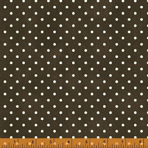 Julia White Polka Dots on Brown - Priced by the Half Yard - brewstitched.com