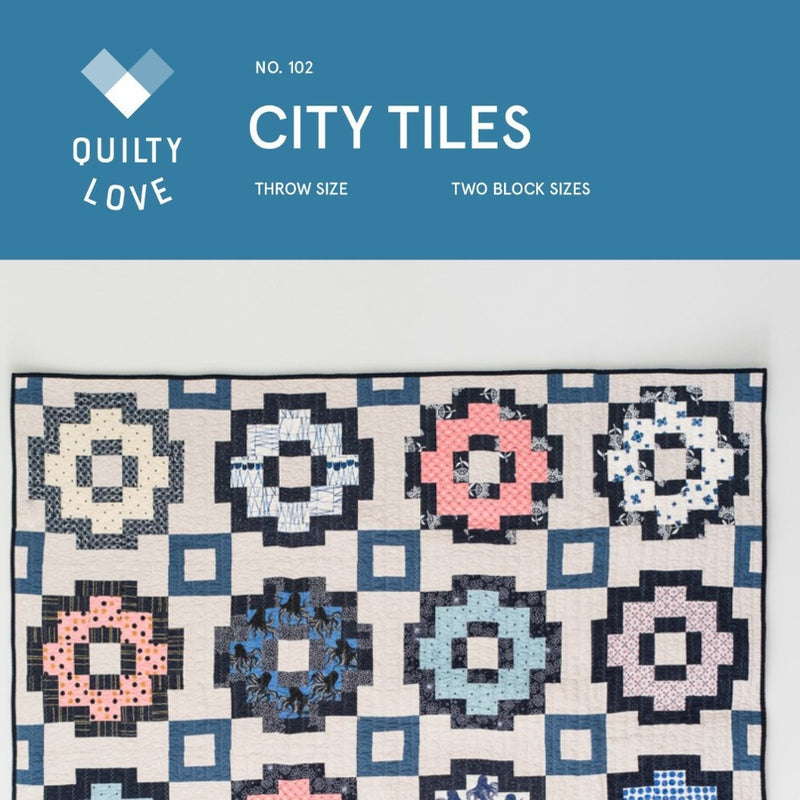 City Tiles Quilt Paper Pattern from Quilty Love - brewstitched.com
