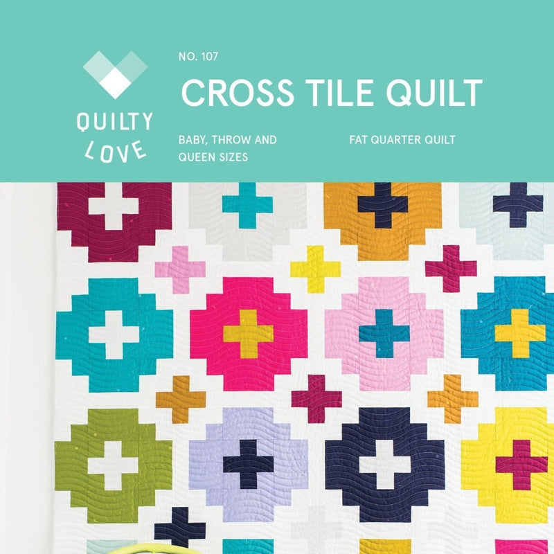 Cross Tiles Quilt Paper Pattern from Quilty Love - brewstitched.com