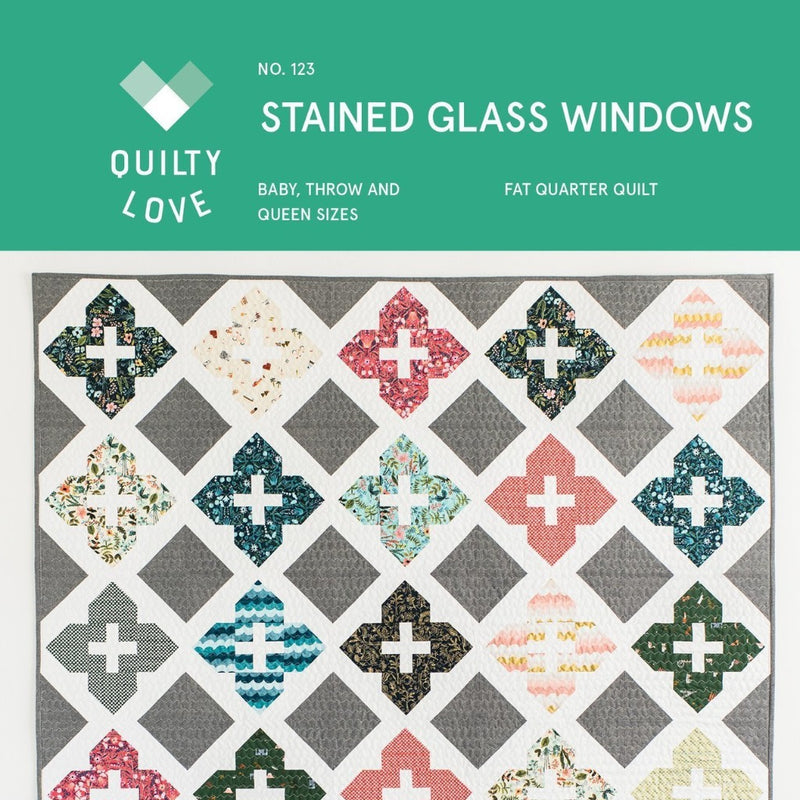 Stained Glass Windows Quilt Paper Pattern from Quilty Love - brewstitched.com