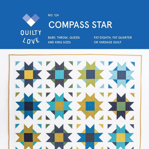 Compass Star Quilt Paper Pattern from Quilty Love - brewstitched.com