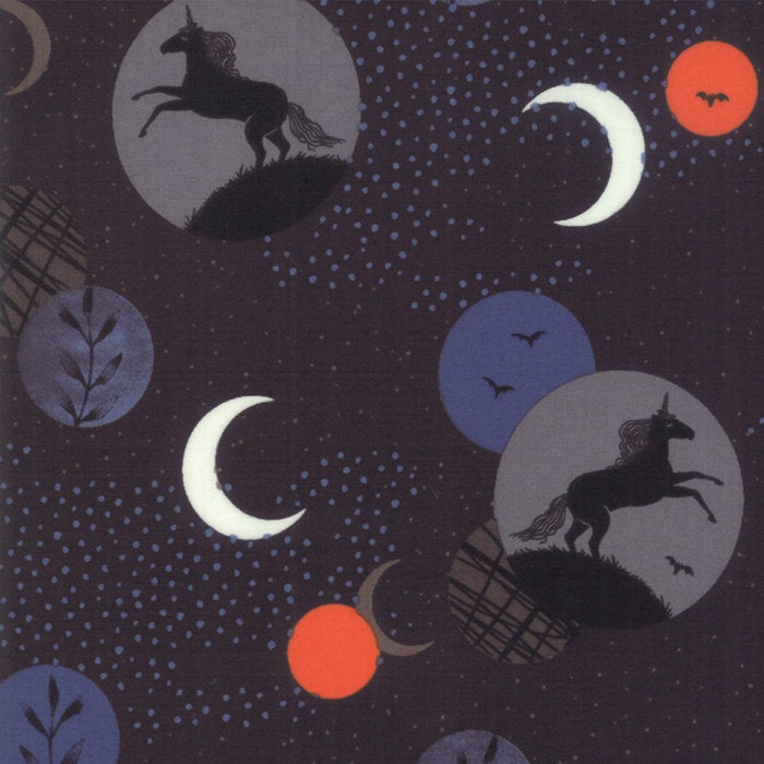 Crescent Unicorn Moon on Black - Priced by the Half  Yard - brewstitched.com