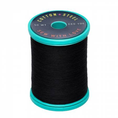 Sulky Cotton+Steel 1005 Black 50 weight Thread 660 yards - brewstitched.com