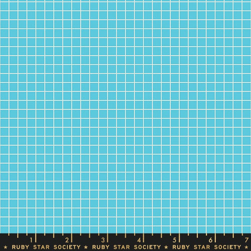 Grid Aqua - Priced by the Half Yard - brewstitched.com