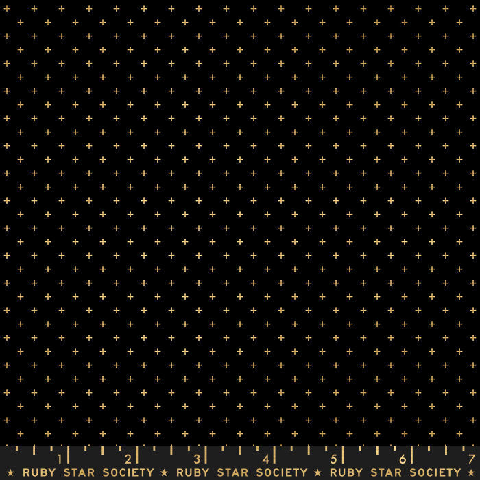 Add It Up Metallic Black Gold - Priced by the Half Yard - brewstitched.com