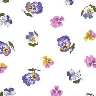 Ghostwood White Pansies - Priced by the Half Yard - brewstitched.com