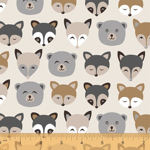 Forest Animals Oatmeal Flannel - Priced by the Half Yard - brewstitched.com