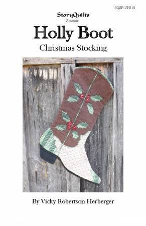 Holly Boot Christmas Stocking Paper Pattern - brewstitched.com