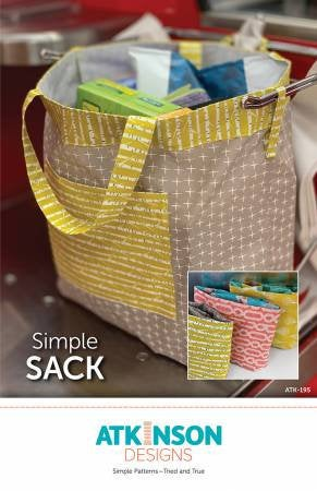 Simple Sack Tote Paper Pattern from Atkinson Designs - brewstitched.com