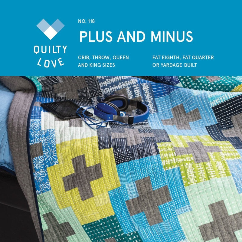 Plus and Minus Quilt Paper Pattern by Quilty Love - brewstitched.com