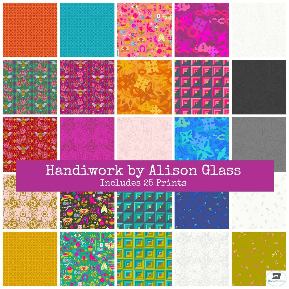 Handiwork by Alison Glass from Andover Fabrics - Includes 25 Prints, Fat Quarter Bundle - brewstitched.com