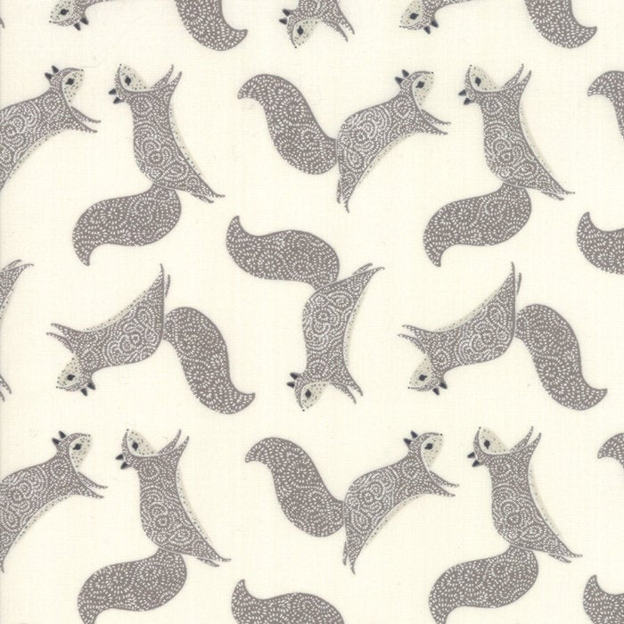 Bramble Squirrels Cream and Gray - Priced by the Half Yard - brewstitched.com