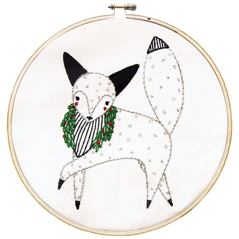Merriment Embroidery Sampler Fox by Gingiber - brewstitched.com