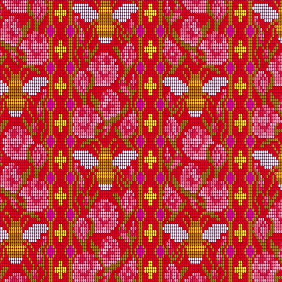 Handiwork Beadwork in Scarlet - Priced by the Half Yard - brewstitched.com