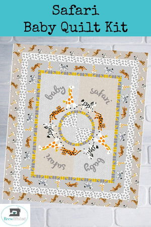Safari Baby Quilt Kit measures 41 x 50 - brewstitched.com