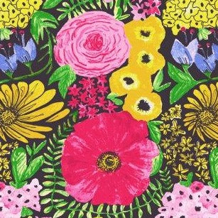 Dear Stella Meows It Going Midnight Bloom - Priced by the Half Yard - brewstitched.com