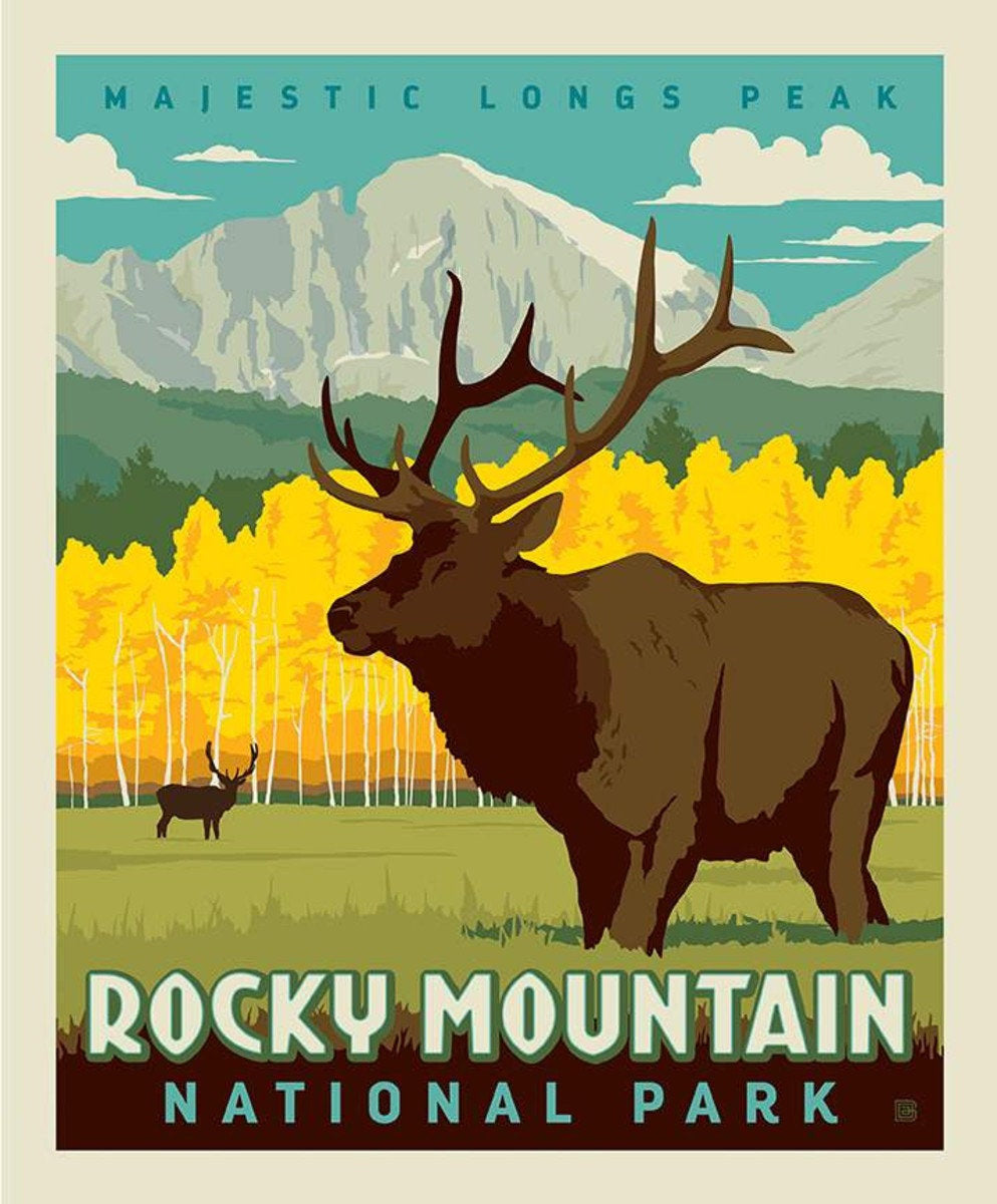 National Parks Poster Fabric Panel Rocky Mountain - Priced by the Panel - brewstitched.com