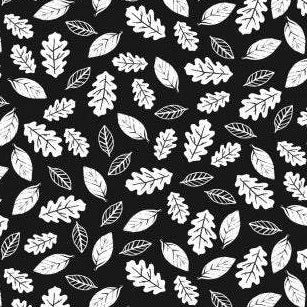 Fawn and Forest Leaves in Black - Priced by the Half Yard - brewstitched.com