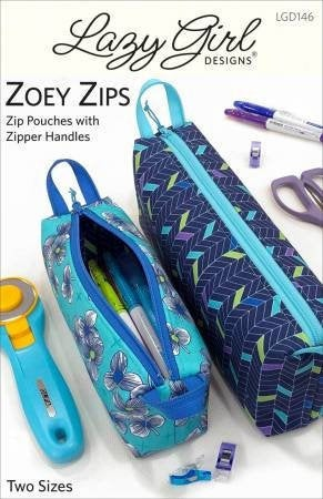 Zoey Zips Pouches Paper Pattern By Lazy Girl Design - brewstitched.com