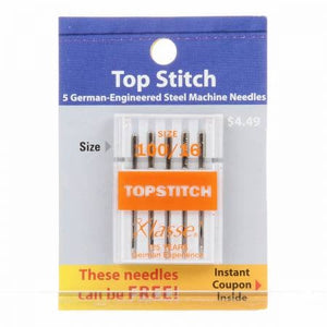 Klasse Carded Topstitch Machine Needle Size 16/100 - Includes 5 Needles - brewstitched.com