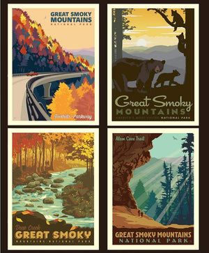 National Parks Pillow Panel Great Smoky Mountains - Priced by the Panel - brewstitched.com