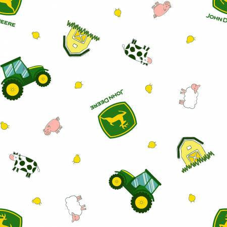 John Deere Tractor Toss on White - PRICED by the Half Yard - brewstitched.com