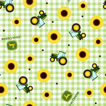 John Deere Sunflower Gingham - PRICED by the Half Yard - brewstitched.com