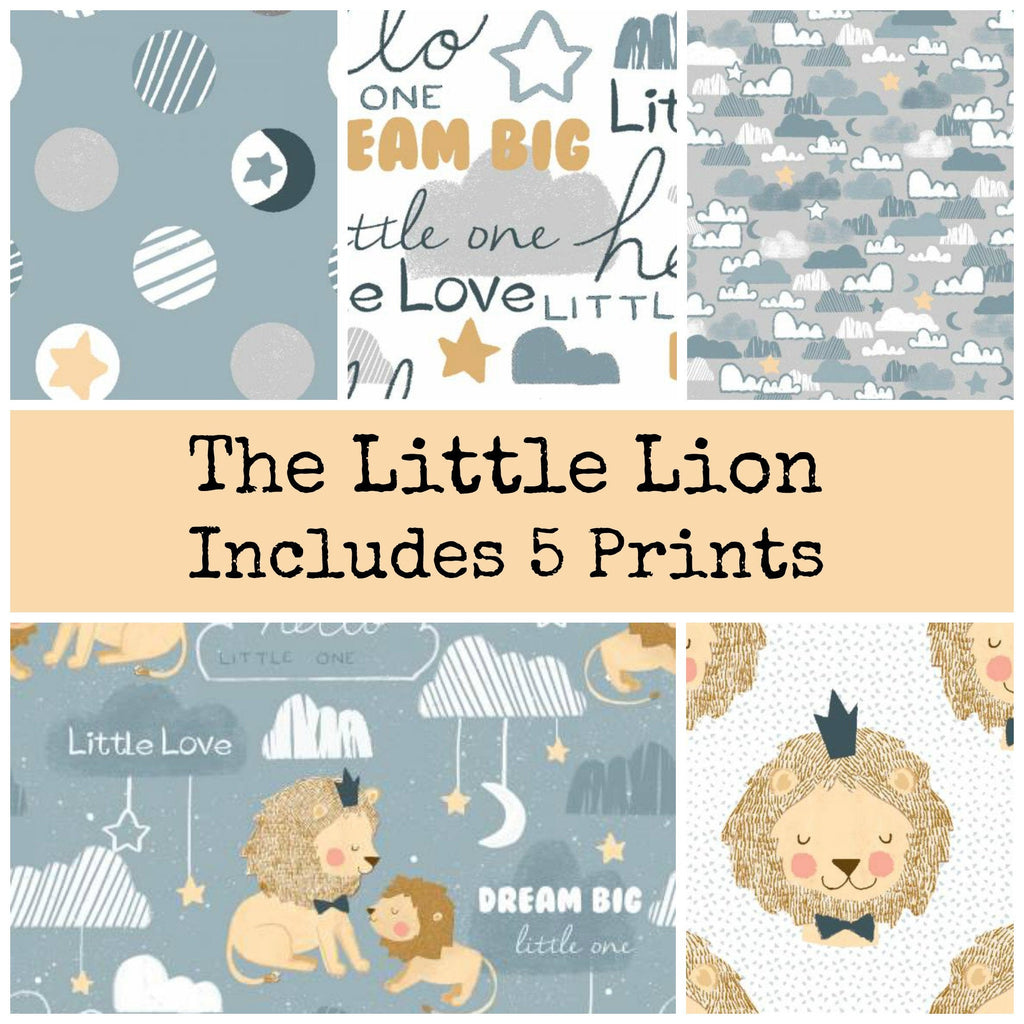 The Little Lion Fat Quarter Bundle includes 5 prints - brewstitched.com