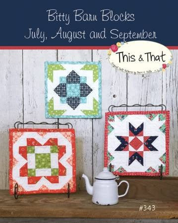 Bitty Barn Blocks July to August Mini Quilts Paper Pattern from This and That - brewstitched.com