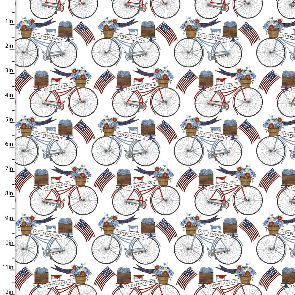American Spirit Patriotic Bicycles - Priced by the Half Yard - brewstitched.com
