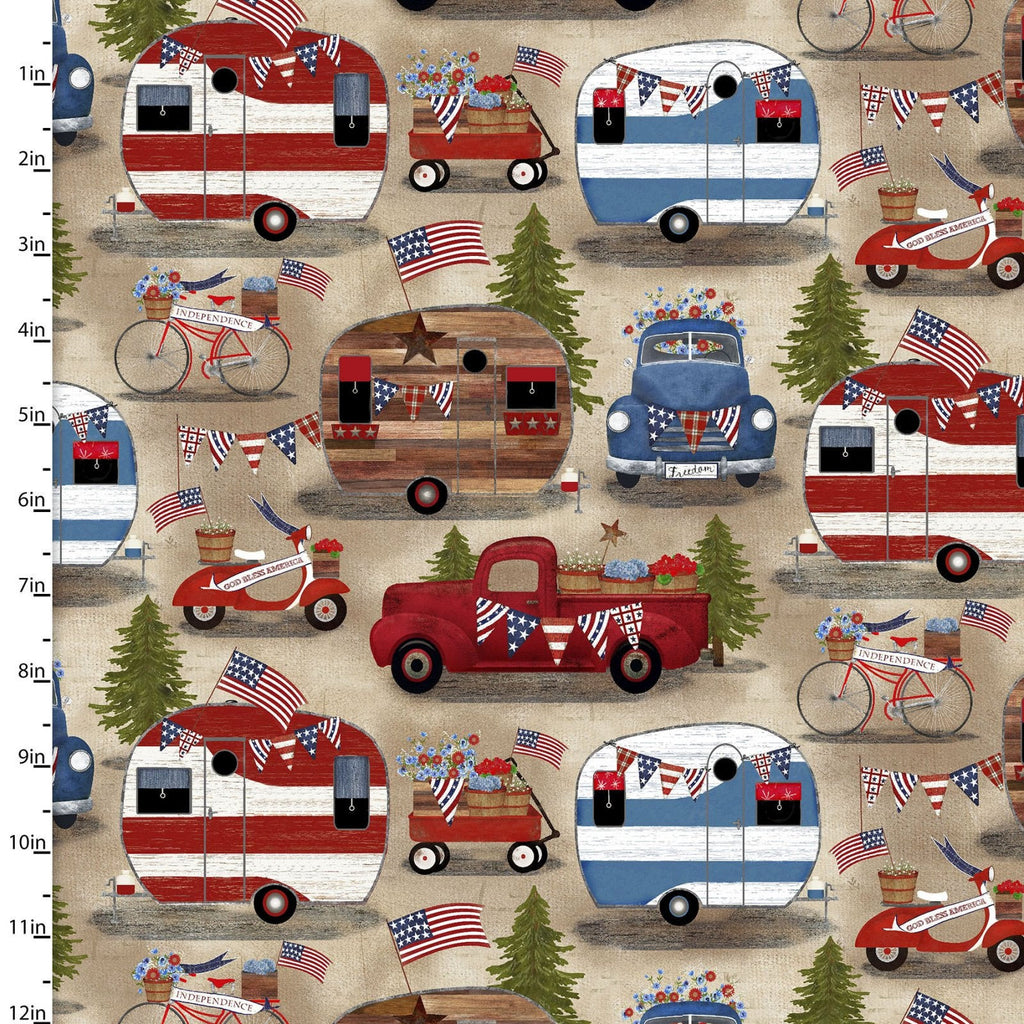 American Spirit Patriotic Campers - Priced by the Half Yard - END OF BOLT - brewstitched.com