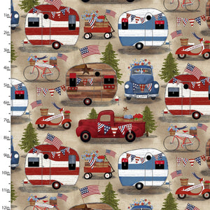 American Spirit Patriotic Campers - Priced by the Half Yard - brewstitched.com