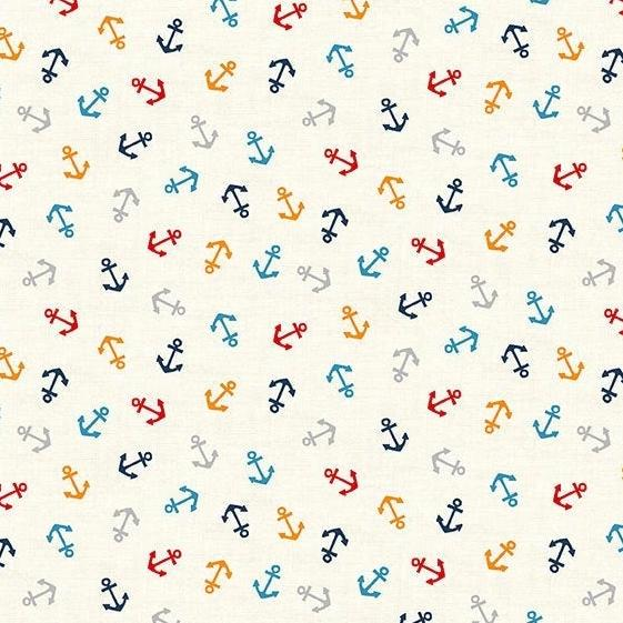 PREORDER - Sail Away Anchors on Cream - Priced by the Half Yard - SHIPS Jan/Feb 2020 - brewstitched.com